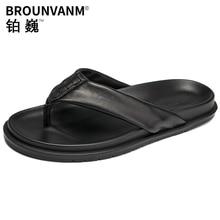 Summer flip-flops men anti-skid personality sandals fashion leather  fender summer genuine slippers