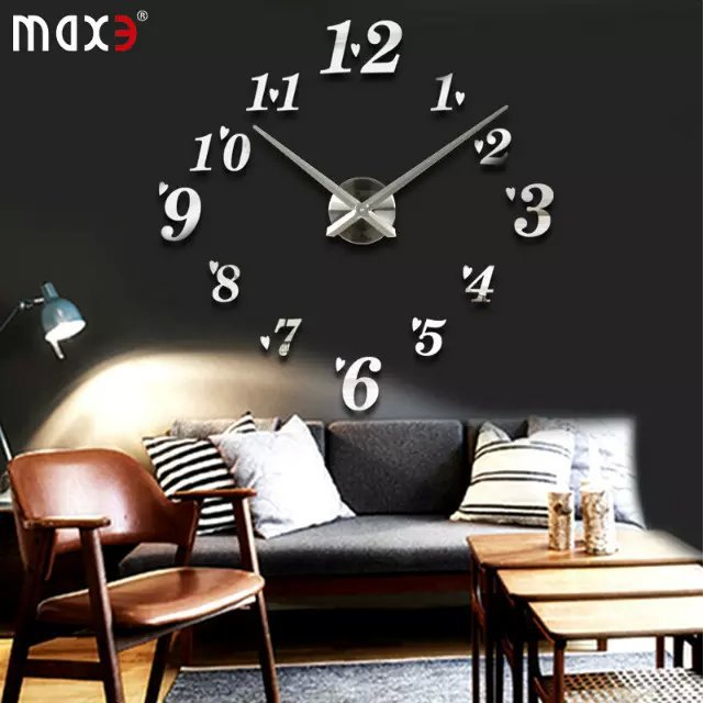 creative designs mirror wall clock large. Free shipping luxury 3D DIY large wall clock big size creative numbers mirror  stickers modern design free in Wall Clocks from Home