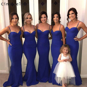 Cinderella Royal Blue Sweetheart Spaghetti Straps Mermaid Satin Pleated Women Bridesmaid Dresses Wedding Party Bridesmaid Gowns