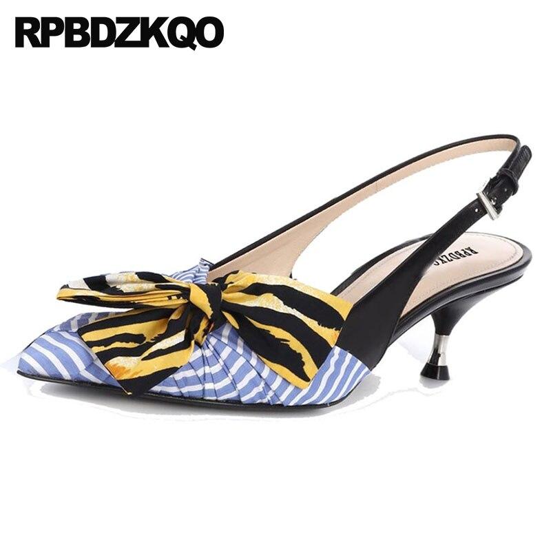 Marque D'été Femmes Mode Moderne 34 2018 Chaton 4 Talons De Pointu Moyen Chaussures Slingback Taille Bleu Défilé Dames Sandales Bout Arc xzw8aAYqn