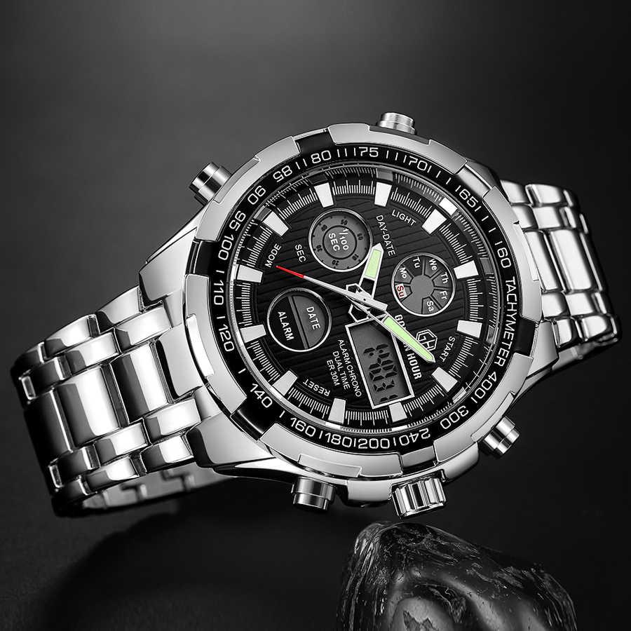 Relojes deportivos militares a prueba de agua marca de lujo GOLDENHOUR reloj analógico de cuarzo Digital de acero plateado para hombre