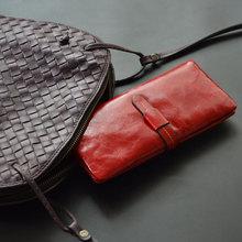 new oil wax wallet women genuine leather wallet bag female cowhide clutch wallets