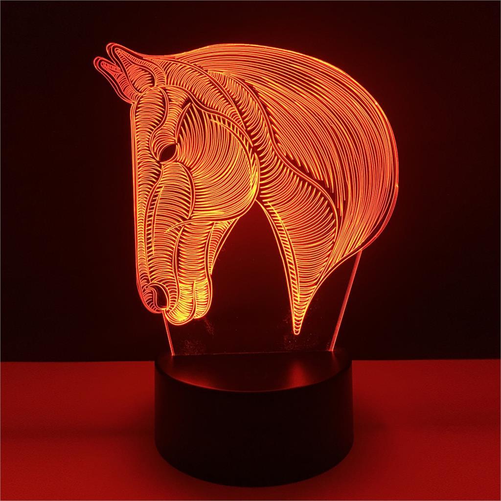 7 couleurs changeant Animal LED veilleuse cheval 3D bureau Table lampe USB Luces Navidad Lampara bébé enfant dormir nouveauté veilleuse