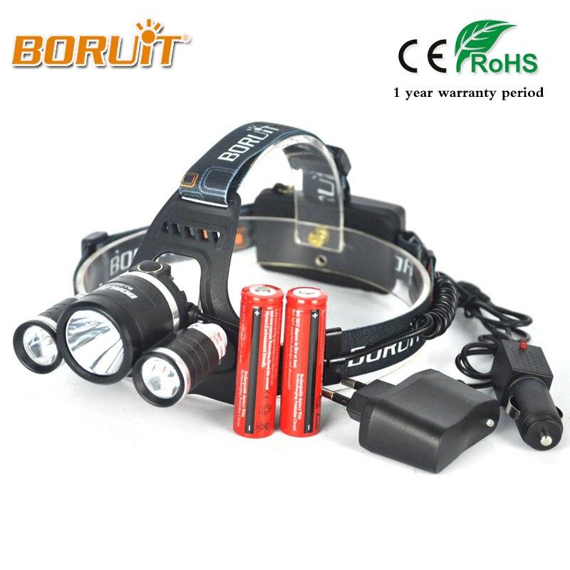 Boruit RJ-3001 8000LM XML T6+2R5 LED Headlight 18650 Battery Head Torch 4Mode Headlamp Flashlight For Fishing Hunting Head Light