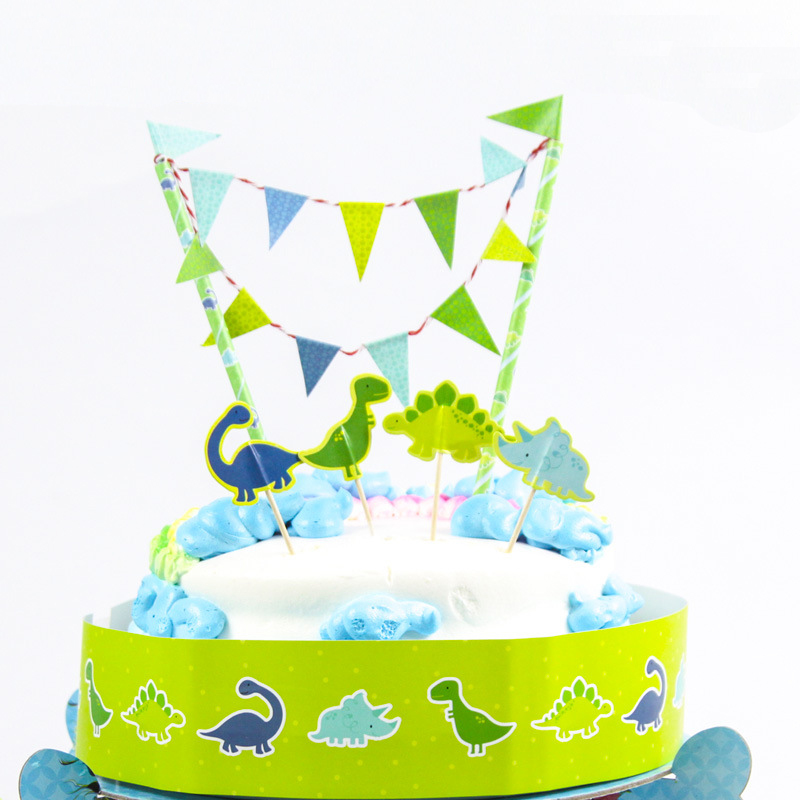 Free shipping dinosaur birthday cake topper birthday party for Baby footprints cake decoration