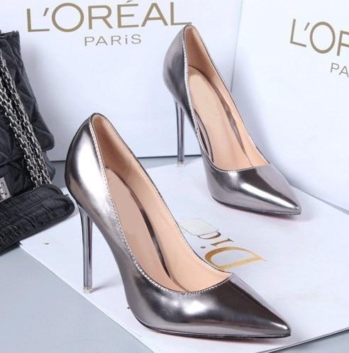 argent Mariage Effgt Chaussures Sexy Mode 2019 En Talons Color Nouveau Hauts Cuir Femmes De gun Brevet Bureau Or Pompes mwN80n
