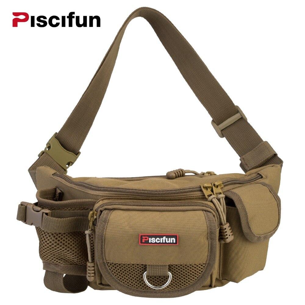 Piscifun Portable Fishing Bag Multifunctional Outdoor Waist Bag Lure Waist Pack Messenger Bag Pole Package Fishing
