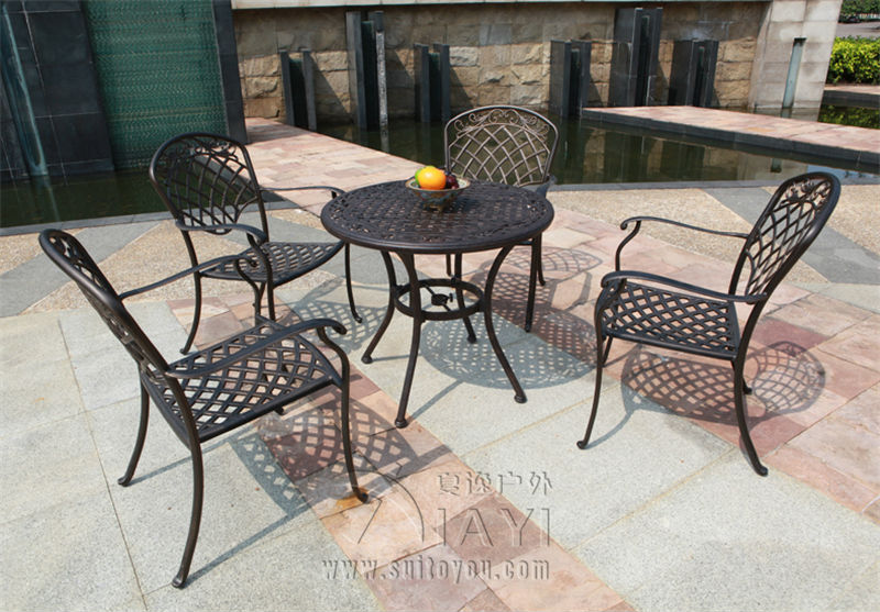 5-piece Best-selling cast aluminum table and chair Outdoor furniture elegant and fashion for villa 3 piece cast aluminum table and chair patio furniture garden furniture outdoor furniture white