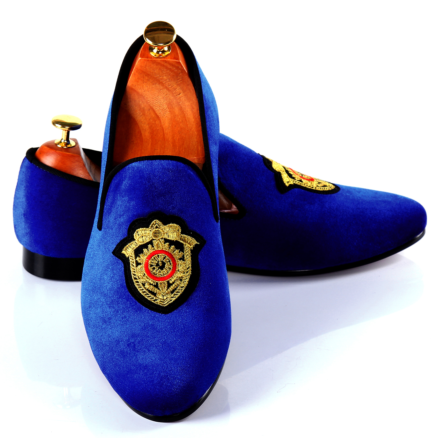 Autumn Men Shoes Casual Blue Velvet Loafers With Motif Badge Free Shipping Size 7-14