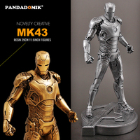 Pandadomik Unique 29cm Resin Iron Man MK43 Figure 11.5inch Model Kids Toys Cool Toy Figures Collectible Creative Gift for Man