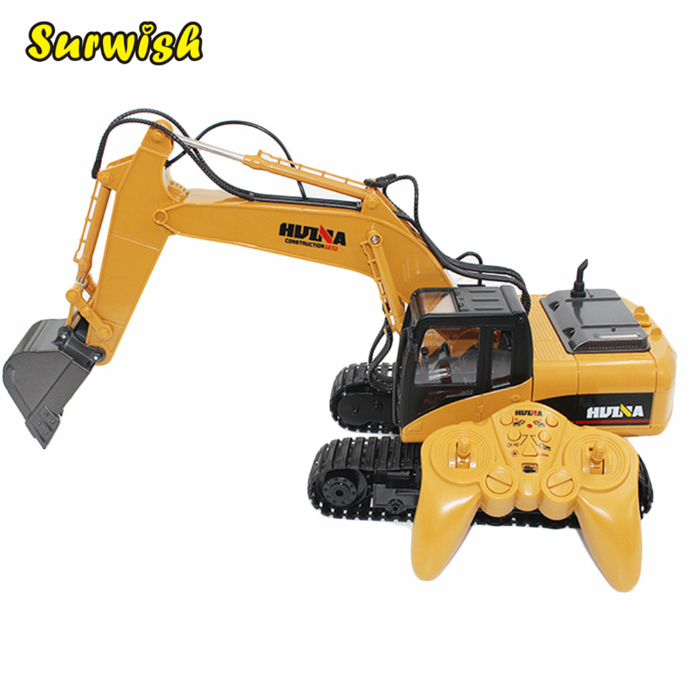 Surwish 1:14 Remote Control 15CH Excavator Simulation Engineering Vehicles Kids Toy Car - Main Brown advanced intelligent vehicles control