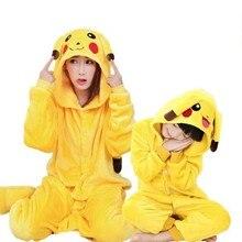 La familia de Halloween del traje de Cosplay Animal amarillo Anime pijama invierno calentito ropa de dormir de dibujos animados coincidentes trajes madre niños mono