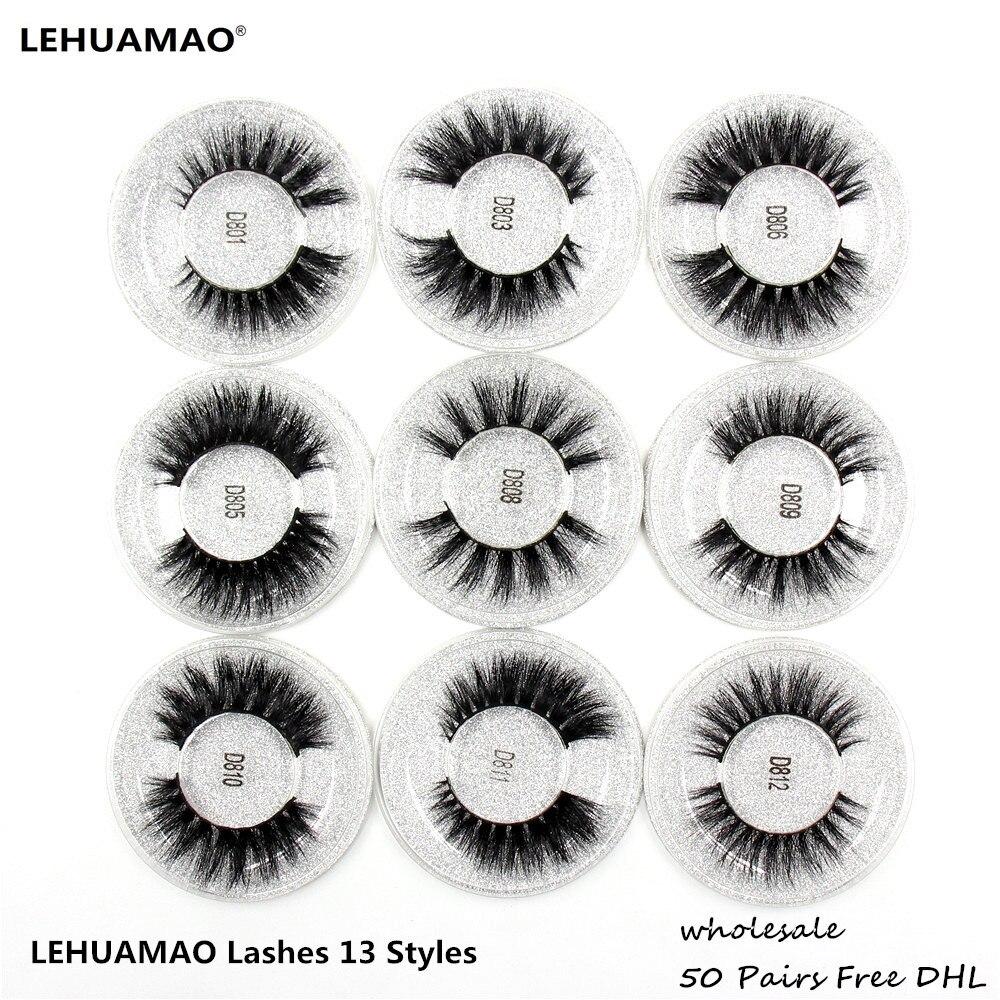 LEHUAMAO 50 Pairs False Eyelashes 3D Mink Lashes 100 Handmade Eye Lashes Real Mink Makeup Thick