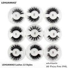 LEHUAMAO 50 ペアつけまつげ 3D ミンクまつげ 100% 手作りアイまつげリアルミンクメイク厚い偽偽まつげ送料 DHL