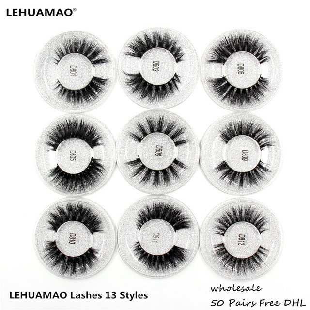 LEHUAMAO 50 זוגות ריסים מלאכותיים 3D מינק ריסים 100% בעבודת יד עין ריסים נדל מינק איפור עבה מזויף False ריסים משלוח DHL