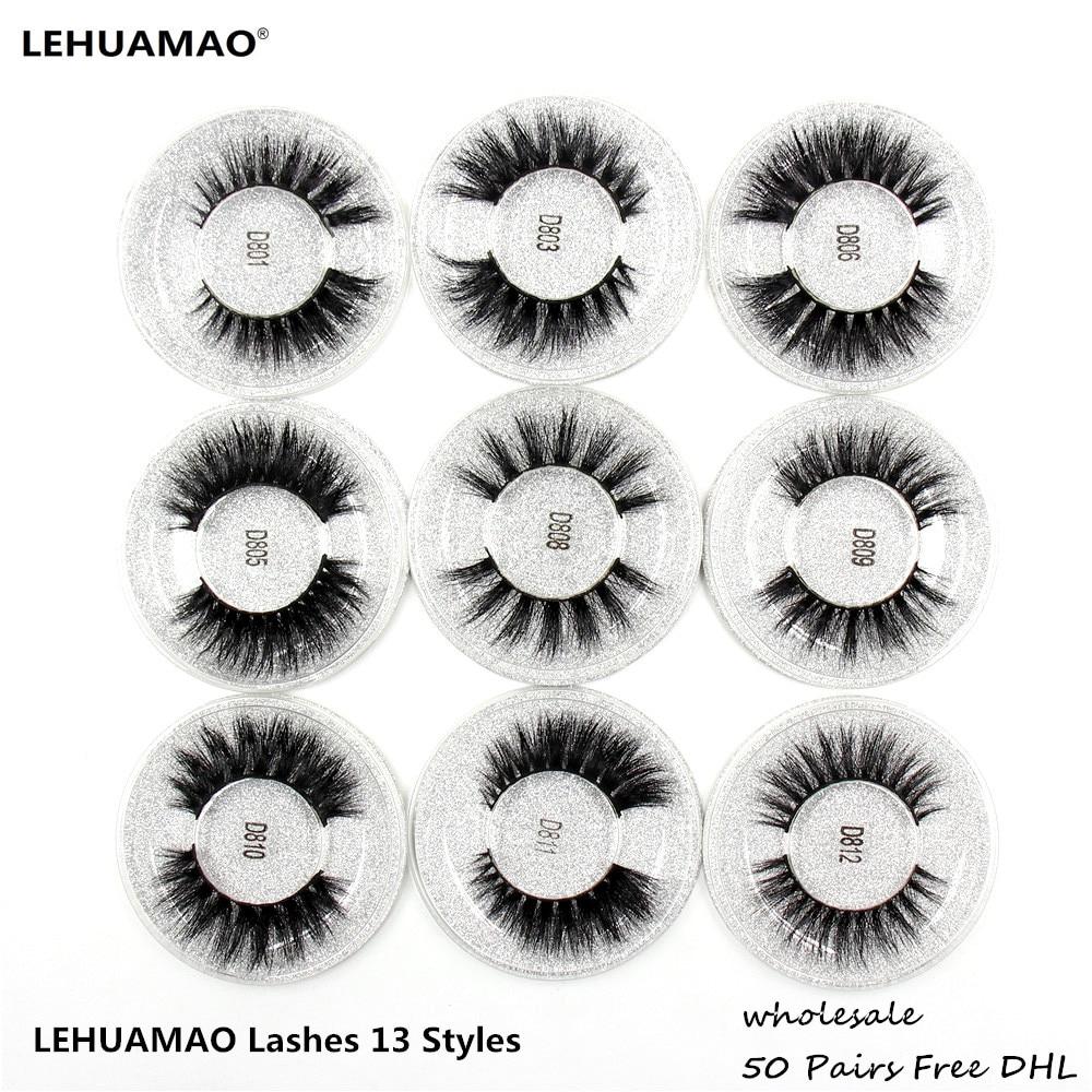 LEHUAMAO 50 Pairs False Eyelashes 3D Mink Lashes 100% Handmade Eye Lashes Real Mink Makeup Thick Fake False Eyelashes Free DHL
