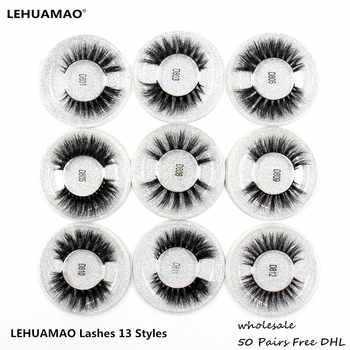 LEHUAMAO 50 Pairs False Eyelashes 3D Mink Lashes 100% Handmade Eye Lashes Real Mink Makeup Thick Fake False Eyelashes Free DHL - DISCOUNT ITEM  31% OFF All Category