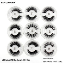 رموش مستعارة من LEHUAMAO مكونة من 50 زوجًا من رموش مستعارة ثلاثية الأبعاد مصنوعة يدويًا 100% رموش مستعارة سميكة من المينك الطبيعي خالية من DHL