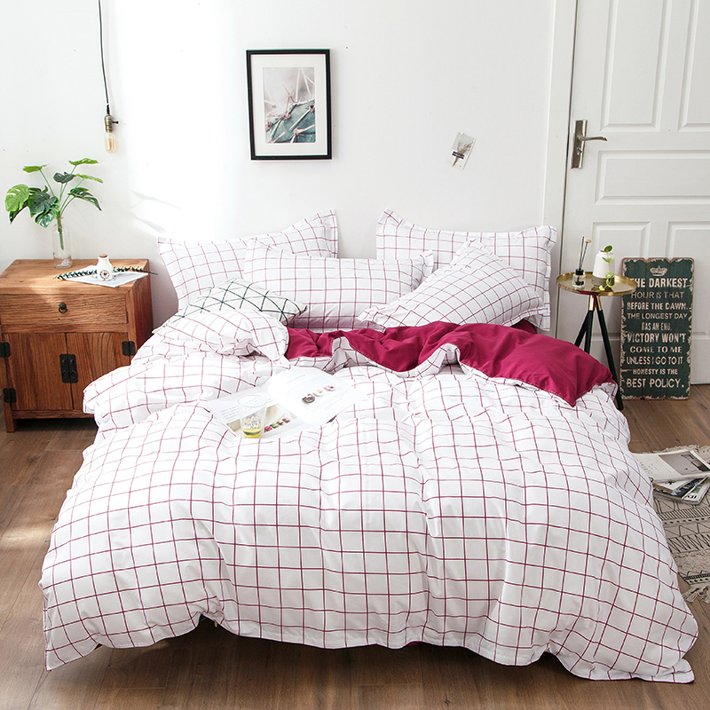 2018 Red Lines Plaids Brief Bedlinens Duvet Cover Set Microfiber Polyester Bedding Twin Queen King Flat Sheet Pillowcases