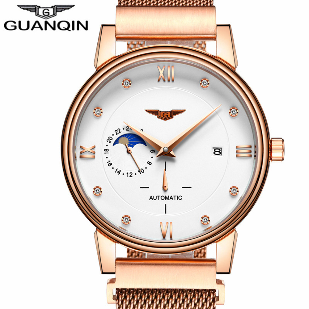 GUANQIN Luxury Brand Original Man Business Casual Automatic Watch Men Fashion Full Steel Waterproof Wristwatch relogio masculino 2017 new full steel automatic watch binger casual fashion wristwatch with gold calendar man business hours clock relogio reloj