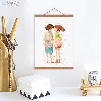 Aquarell Japanischen Miyazaki Anime Chihiros Gerahmte Leinwand Gemälde Romantische Mädchen Raumdekor Kunstdruck Bilder Plakat