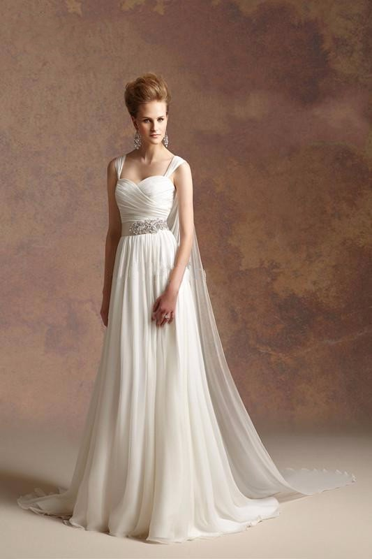 2016 hot sale greek goddess a line chiffon beach wedding for Cheap chiffon wedding dresses
