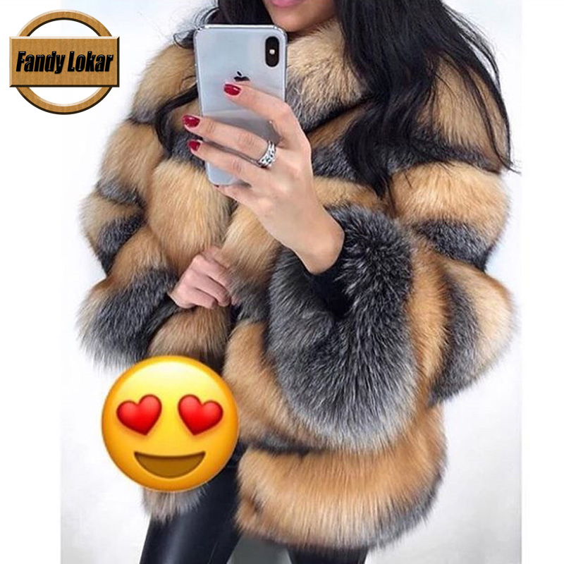Fandy Lokar New Real Fox Fur Coat Women Winter Warm Stand Collar Nature Fox Fur Coats Overcoat Female Genuine Furs Jacket RFC091