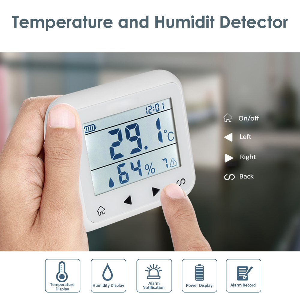 Wireless LCD Display Adjustable Temperature Alarm Detector Sensor Protection  Humidity Detection Home Alarm System 433Mhz wireless vibration break breakage glass sensor detector 433mhz for alarm system