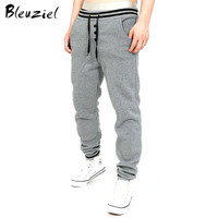 Bleuziel New Winter Add Velvet Wearm Men Trousers Thicker Men Sweatpants Fasion Cotton Pants Casual Solid