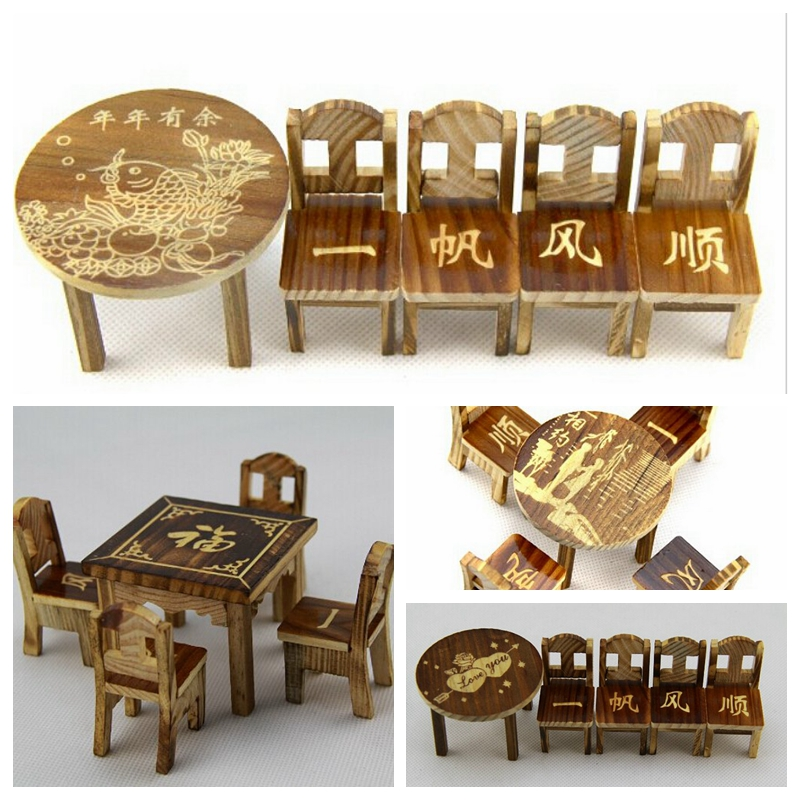 Chinese Style Cute Dollhouse Miniature Furniture Wooden Mini Dining Room  Table & 4 Chairs Set Toy