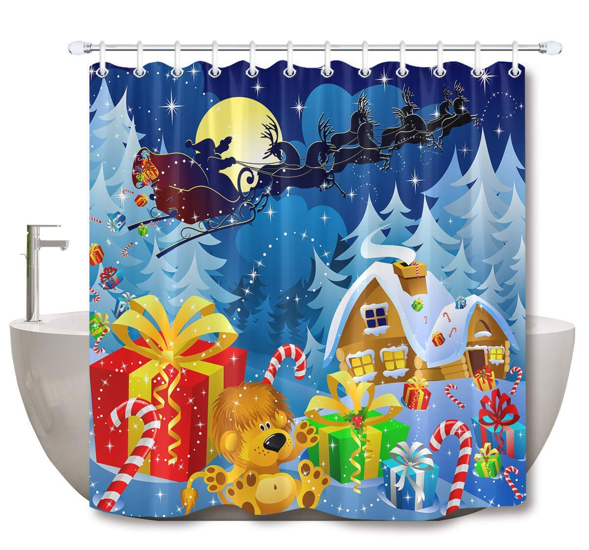 Us 17 78 16 Off Christmas Shower Curtain Set Santa Claus Elk Carriage Gifts Chimney Stick Bathroom Curtain With Hooks Inch Polyester Fabric In