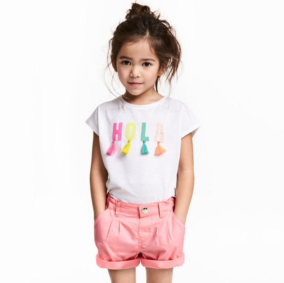 Little maven children 2018 summer baby girl clothes short sleeve t shirt letter applique cotton brand tee tops 51001 plus 3d applique mesh sleeve tee