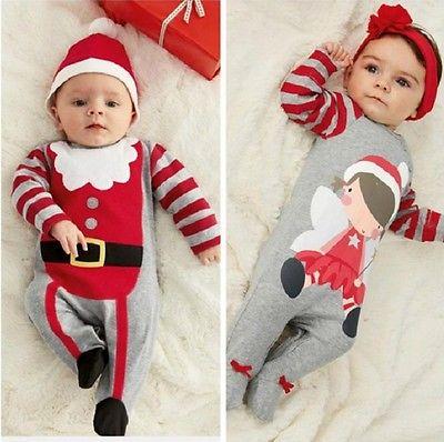 Christmas Newborn Baby Girl Boy Winter Clothes New Born Body Baby Ropa  Next Baby Bodysuit Hat Headband Set 2pcs set baby clothes set boy