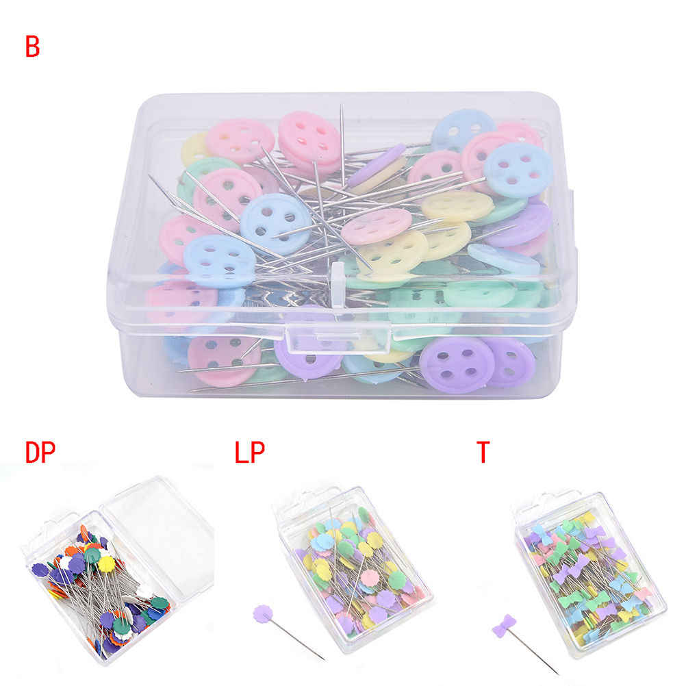 100 Pieces/Pack Cute Patchwork Pins Locating Pin Flat Pins With Flower Bow Tie Button Shape Head Apparel Sewing Accessories