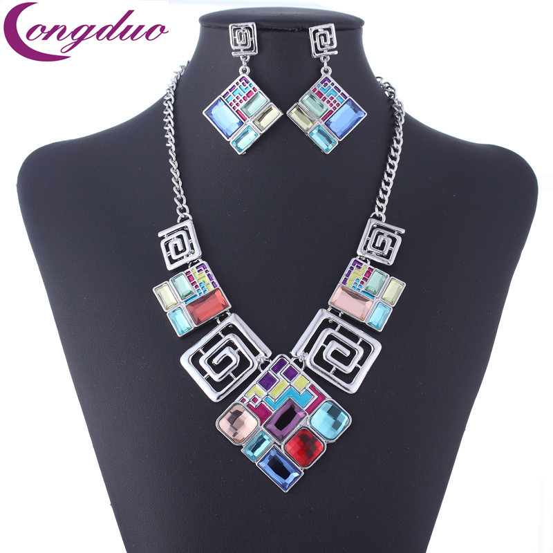 2018 Fashion Geometric Silver Glass Jewelry Set Square