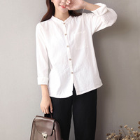 QPFJQD Summer Autumn Comfortable Loose Cotton Linen Shirt Roll Up Long Sleeve Blouse Female Solid Color