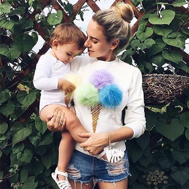 Sweatshirt Women Hoodies Cotton Ice Cream Ball Kawaii Sudaderas Mujer Felpe Donna Moleton Feminina Autumn Pullover TX4517