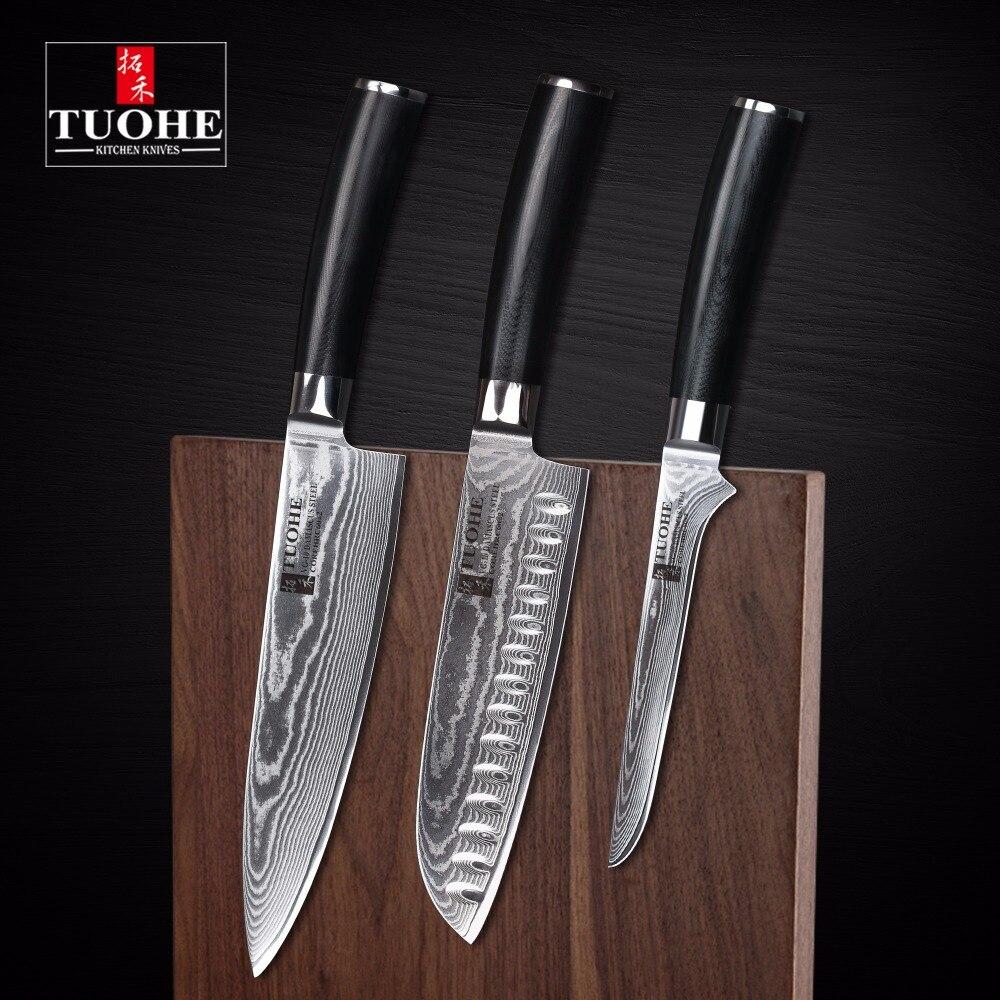 TUOHE 3 Pcs Japanese Damascus Kitchen Knives Sets High Quality 8 inches chef Knife Santoku boning