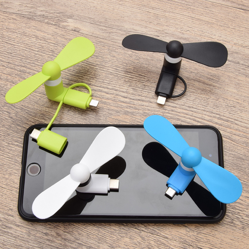 2 In 1 / 3 In 1 Travel Portable Cell Phone Mini Fan Cooling Cooler For Micro USB C For IPhone For Type-c USB Fan Mini Fan