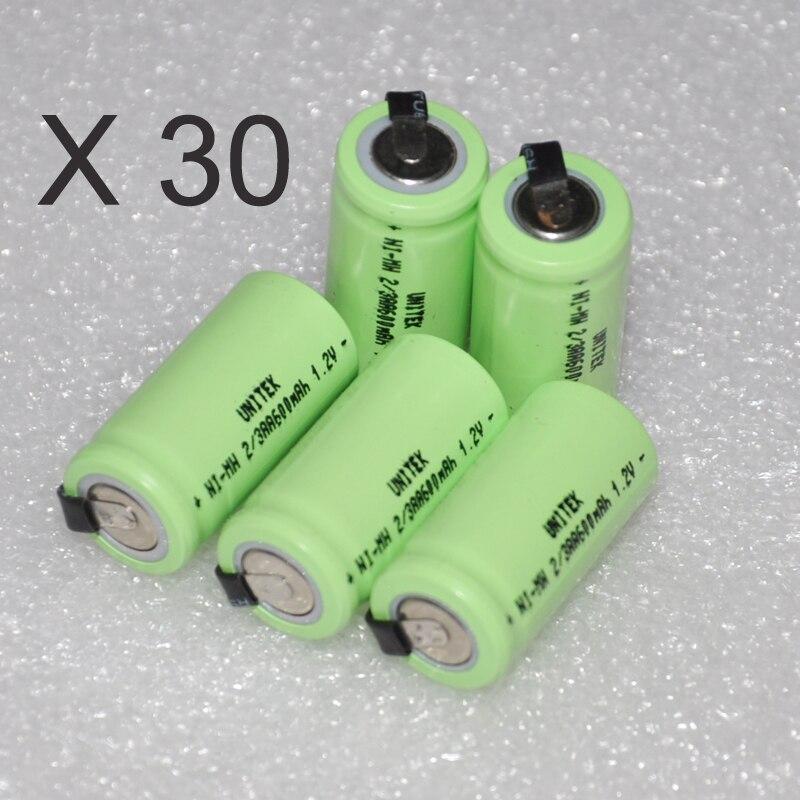 30 шт. 2/3AA 600 мАч 1.2 В перезаряжаемый аккумулятор 2/3 AA Ni-MH NiMH ячейки с вкладке контакты для электрических Лезвие бритвы беспроводной телефон