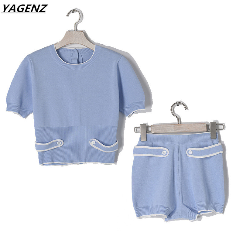 High Quality Knit Sweater Sets Women 2017 Summer Set Back Button Knitting Short Tops+Shorts Two-piece Sweater Suit Female YAGENZ