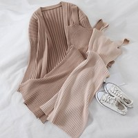 2018 New Fashion Women Solid Two Piece Set Casual Elegant Loose Knit Cardigan Coat And Bodycon Dress Female Knitted Suits