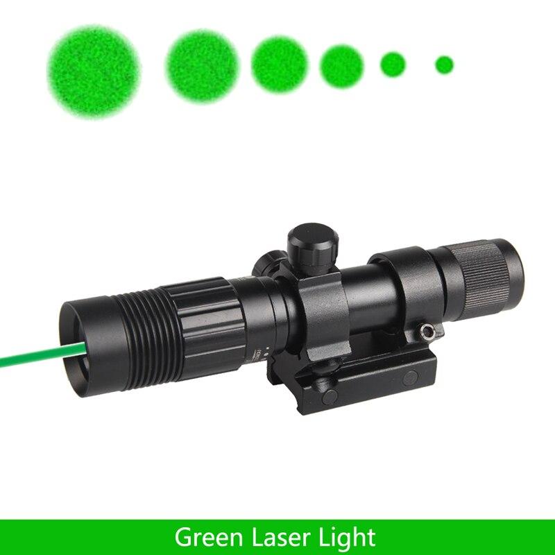 Nuit Vision Optique Réglable Forte Vert Laser lampe de Poche Illuminateur Pour La Chasse Picatinny Rifle Mont Laser Vue RL8-0006