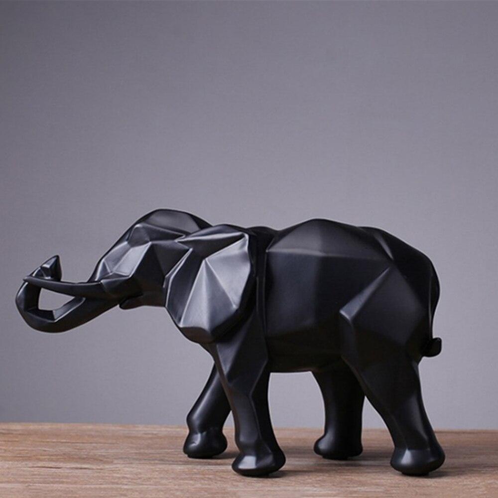 Moda Preto Abstrato Estátua do Elefante Enfeites de Resina Casa Acessórios de Decoração Presente Geométrica sala de Elefante Escultura Artesanato