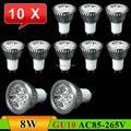 10 pcs GU10 8 W LED Spot lâmpada lâmpada AC85 ~ 265 V branco / branco quente Spotlight frete grátis