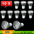10 pcs GU10 8W LED Spot Light Bulb Lamp AC85~265V White/Warm White Spotlight Free Shipping