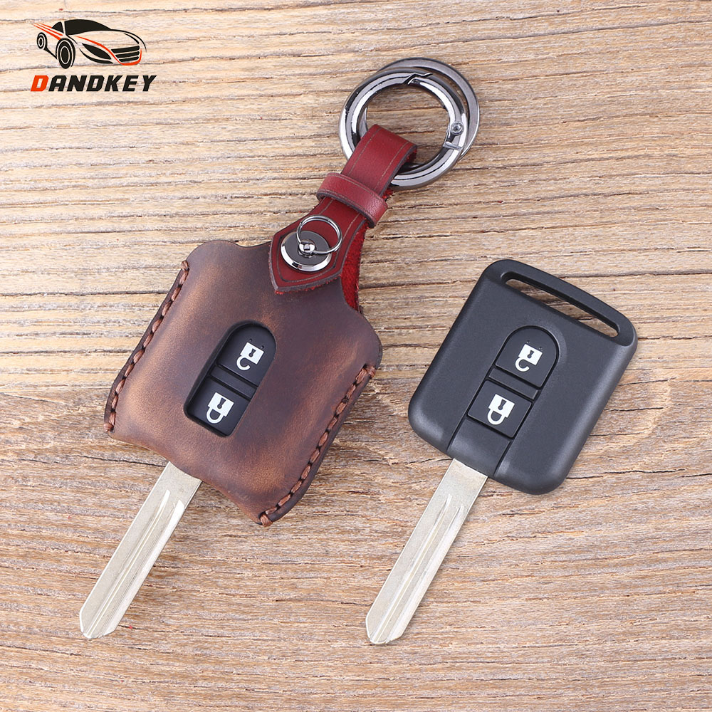 DANDKEY Genuine Leather Protector Key Case Shell Cover FOB 2 Buttons For Nissan Micra Navara Note X-Trail Qashqai