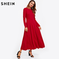 SHEIN Scallop Edge Boxed Pleated Fit And Flare Dress Long Sleeve Maxi Dress Zipper Back Red