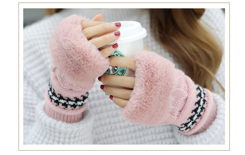 New Autumn And Winter Korean Version Of The Warm Women Hat Gloves Set Knitted Hair Ball Two Sets Of Ladies Thickening HC37 (17)