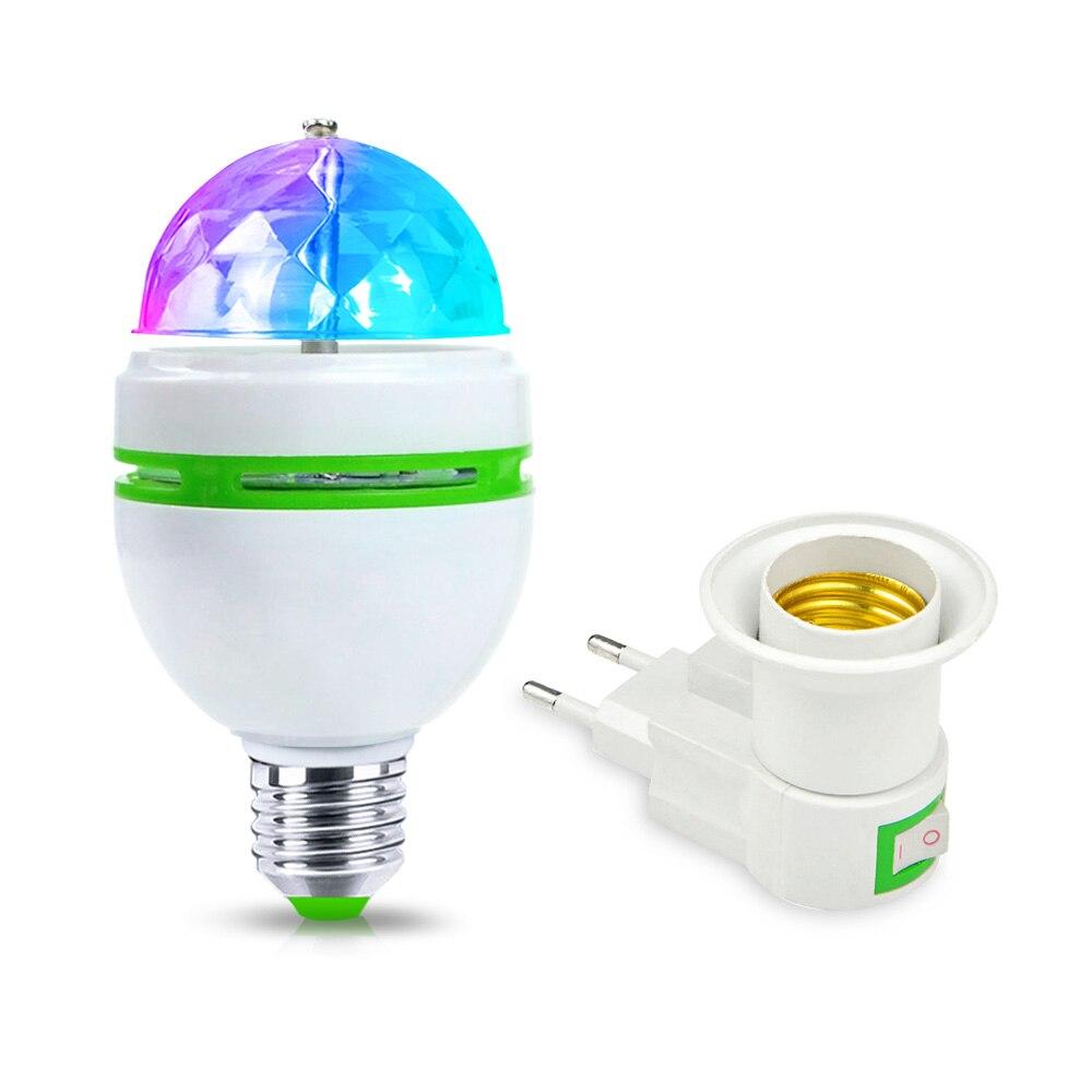 E27 RGB LED Night Light 110V 220V 85-265V EU Plug E27 3W LED Stage Light Christmas Projector LED Bulb Holiday Amosphere Lamp